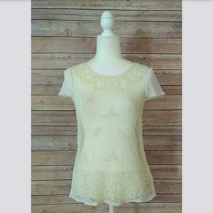 Maeve Anthro cream embroidered short sleeve top